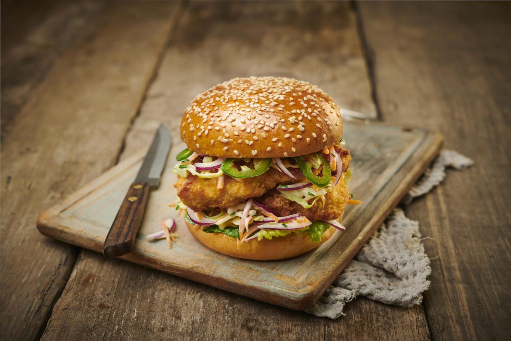 Fried Chicken Burger With Sesame Seeds